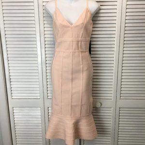 Venus blush pink bodycon bandage dress peplem L